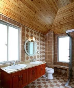 卫生间的杉木板吊顶