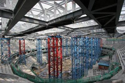 广州国际体育演艺中心主场馆钢结构顺利卸载