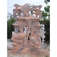 海豚石雕鱼,手工雕刻鲤鱼戏水