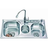 供应8343不锈钢厨房水槽(菜盆、星盆、带垃圾桶水槽)