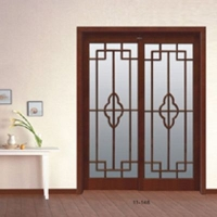 美升 复古平移玻璃门 双开实木门 书房门11-148