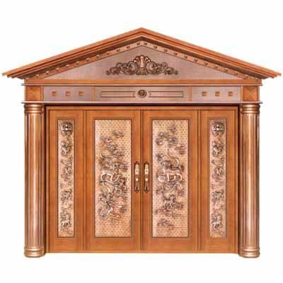 铜铝门/铜铝浮雕罗马柱四开门