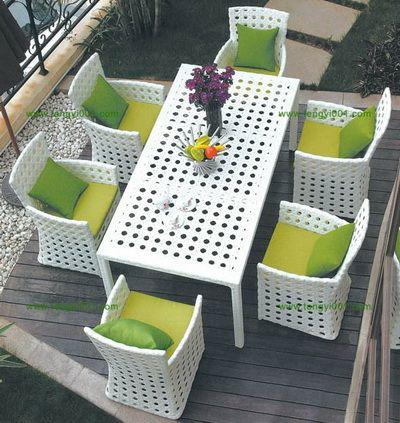 B608 户外仿藤餐台椅,户外家具厂家