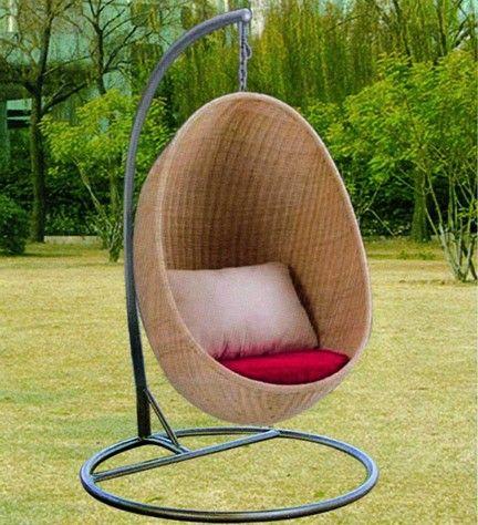 别墅庭院景观不锈钢藤制吊椅