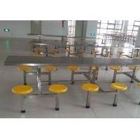 公司食堂用玻璃钢餐桌椅-6人座位连体餐桌椅