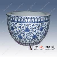 青花缠枝莲陶瓷大缸,景德镇陶瓷风水大缸