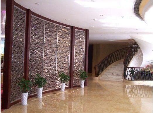 激光镂空不锈钢屏风 酒店会所不锈钢屏风效果图
