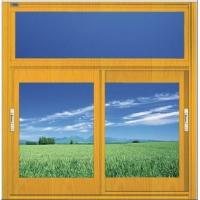 钢塑共挤黄木纹推拉窗