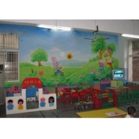 成都墙体彩绘-成都墙绘_成都手绘墙画_红盛幼儿园墙体彩绘