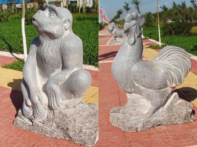 石雕12生肖柱,十二生肖福运石雕等众多中央美院雕塑大师作...