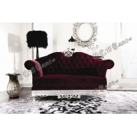 宫廷一号新古典后现代风格双人沙发实木雕花拉扣沙发