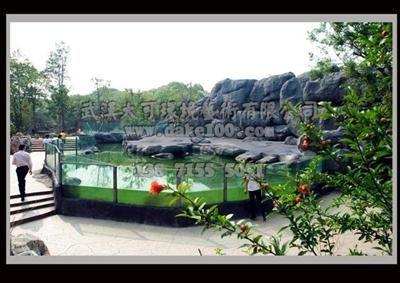 武汉动物园企鹅馆室外场馆塑石假山