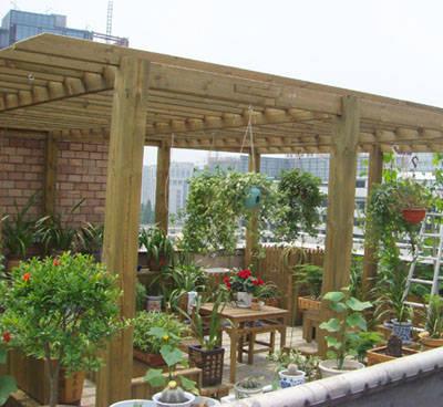 台州防腐木 户外木 空中花园