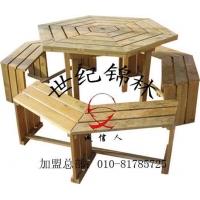 防腐木六角桌