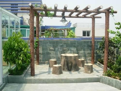 花架凉亭,水池假山,绿化工程