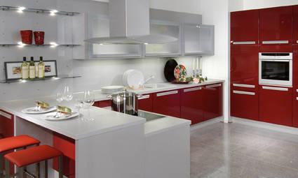 红色厨房门效果图片