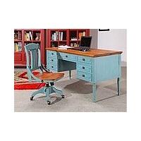地中海欧美乡村色彩实木书桌+书椅+书柜+杂志架