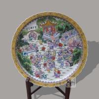 供应瓷盘,粉彩百子图大盘,定做开业大瓷盘