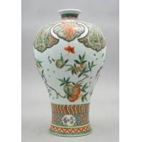供应粉彩瓷装饰粉彩花鸟花瓶高档花瓶礼品