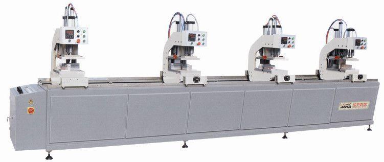 焊接机四位焊机三位焊机 塑钢门窗焊接机 本机四个机头采用PC控制、可焊接 气压传动,运动副采用CM无油润滑轴承和直线运动球轴承、精度高、操作简单及维修方便;四个机头可以分别单动,也可以任意组合联动,通过四个机头的有机组合完成和解工艺;一个机头具有焊接任意组合联动,通过四个机头的有机组合完成焊接工艺;一个机头具有焊接任意角的功能,满足了用户对焊接圆弧窗等异型窗的要求 功能参数: 输入电源: 220V 50HZ 输入功率: 4.