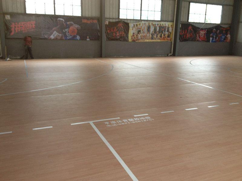 室内篮球场木纹pvc运动地板
