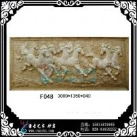 八骏图砂岩浮雕,砂岩浮雕,艺术浮雕,砂岩壁画,背景墙浮雕