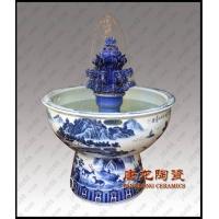 青花陶瓷喷泉 空气加湿器 喷雾加湿器 装饰品陶瓷喷泉