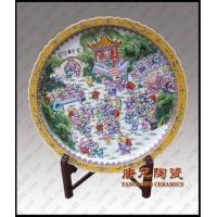 手绘粉彩百子图陶瓷大瓷盘 陶瓷赏盘 居家酒店装饰品大瓷