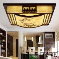 中式吸顶灯/方形木质仿古灯/客厅卧室茶楼灯具