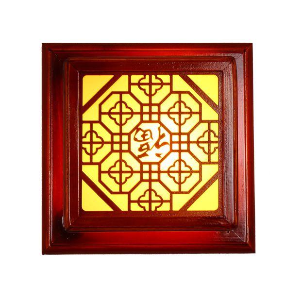 中式壁灯/方形实木仿古灯/走廊过道灯具