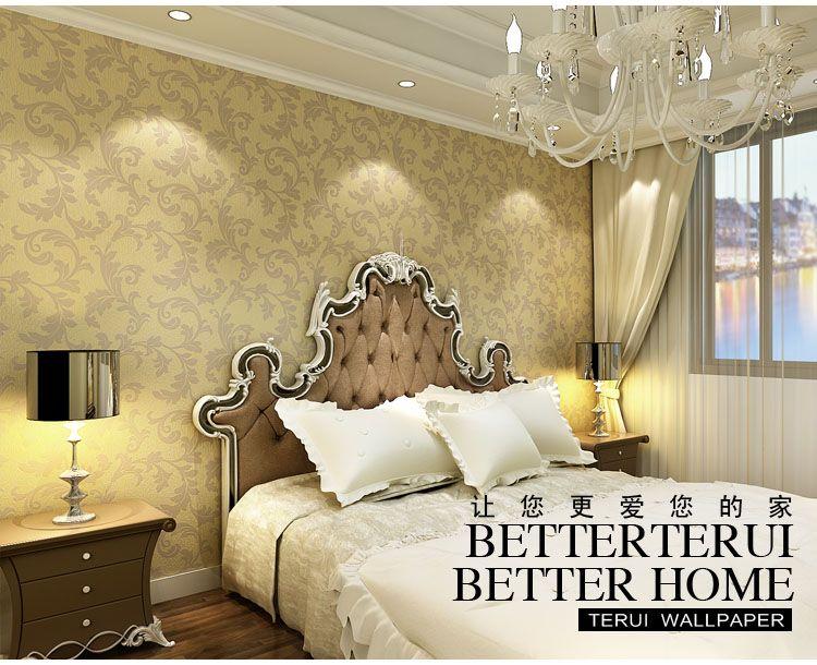 客厅金黄色欧式壁纸无纺布墙纸卧室t500系列