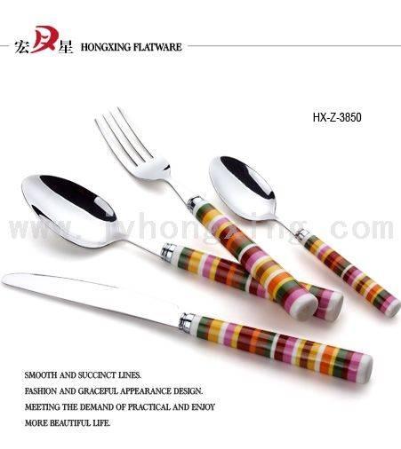 塑柄刀叉匙,塑柄西餐具,不锈钢餐具,塑柄餐具