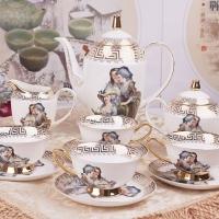 骨瓷咖啡具 15头高档欧式骨瓷茶具/咖啡具  手绘