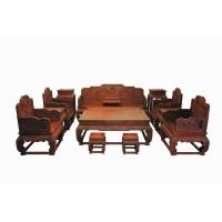 广西南宁红酸枝灵芝宝座沙发十三件套(红木沙发图片)