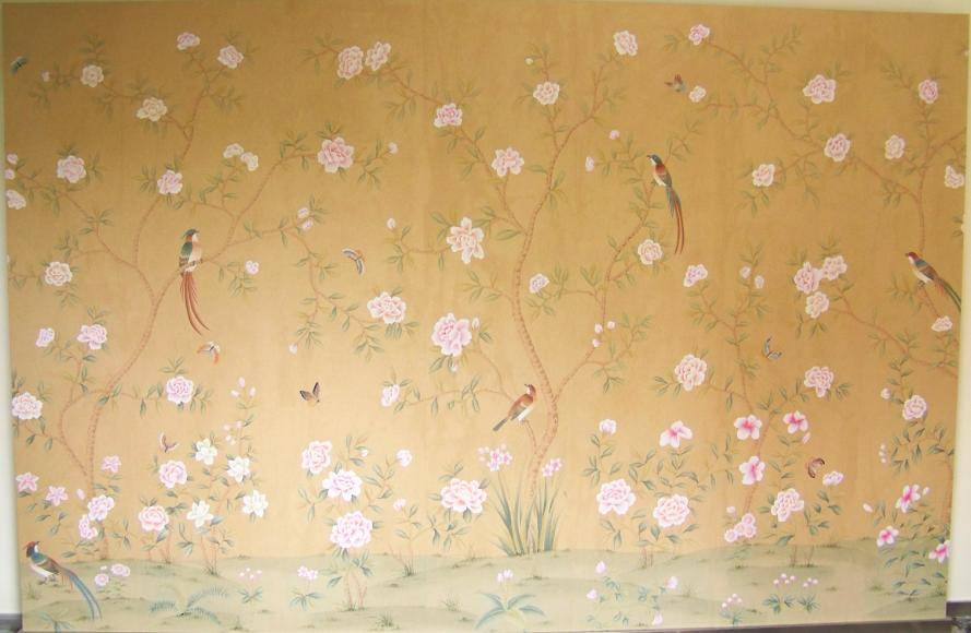丝绸手绘墙纸图片