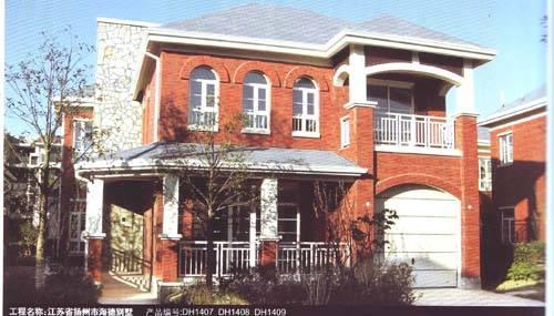 红砖三层别墅图片