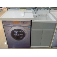 连体石英石洗衣盆柜