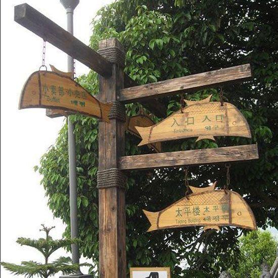防腐木标示牌 导视牌|卉峰园林景观建材