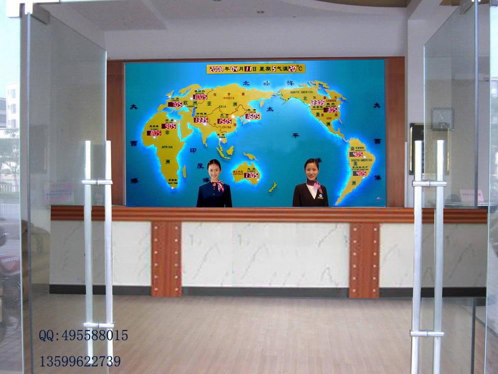 酒店大堂前台背景墙设计-新款世界时钟