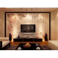 雕刻背景墙 电视背景墙 瓷砖雕刻背景墙 对莲
