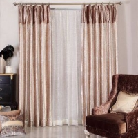 采轩客厅书房卧室欧式奢华烫金成品窗帘窗纱套 脉动时尚拼接窗帘