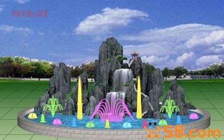 假山 喷泉水景 古建 亭子