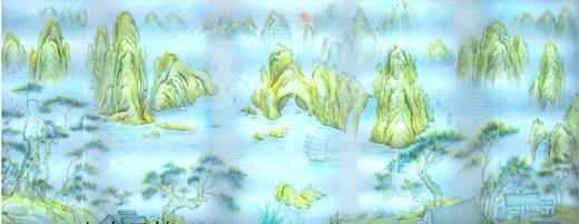 山水風情|背景墻 沙雕玻璃產品圖片,山水風情|背景墻