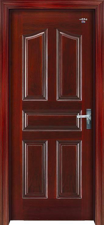 欧式五框红胡桃实木复合门