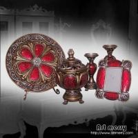 中东风格家居饰品,红色玻璃马赛克系列台灯,风景盘,相框.