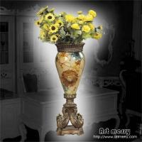 欧式风格家居饰品,透明树脂手绘菊花大花瓶
