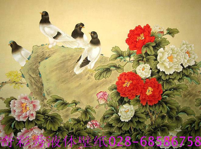 墙艺漆手绘-工笔画花鸟手绘效果图