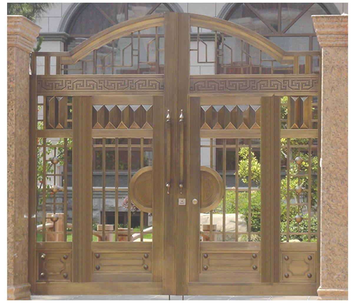 定制菲尔特豪华别墅庭院大铜门,欧式围墙铜门