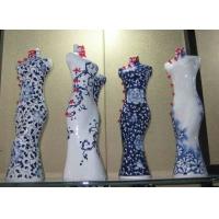 景德镇陶瓷插花花瓶,青花艺术工艺瓷,旗袍美女瓶,艺术摆件