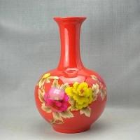 供应窑盛陶瓷中国红富贵牡丹赏瓶、麦秆画圆球瓶